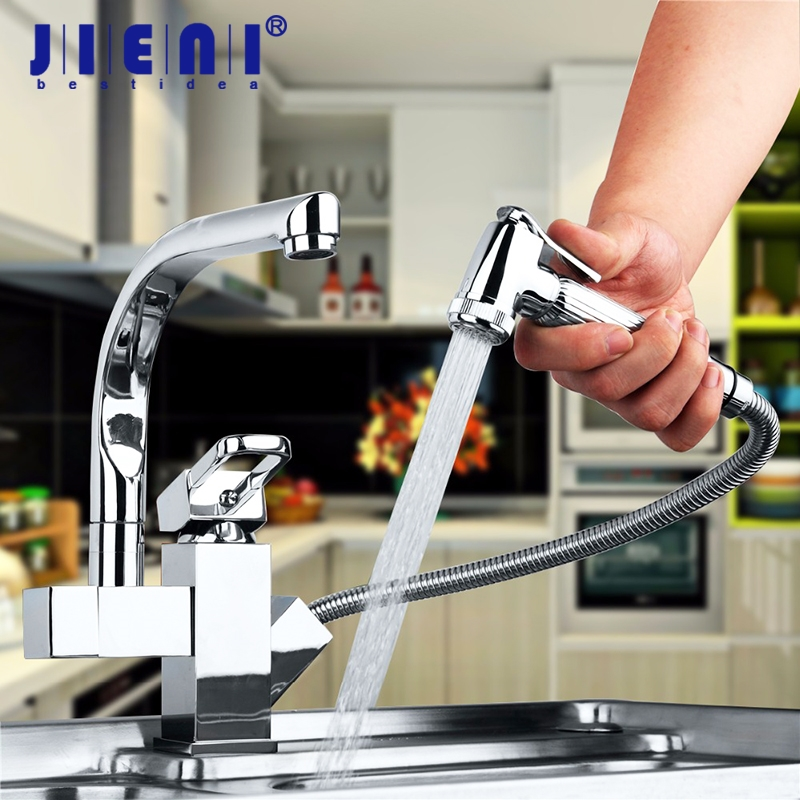 Contemporary Chrome Finish Solid Brass Kitchen Faucet Two Spouts Deck Mount Mixer Faucet