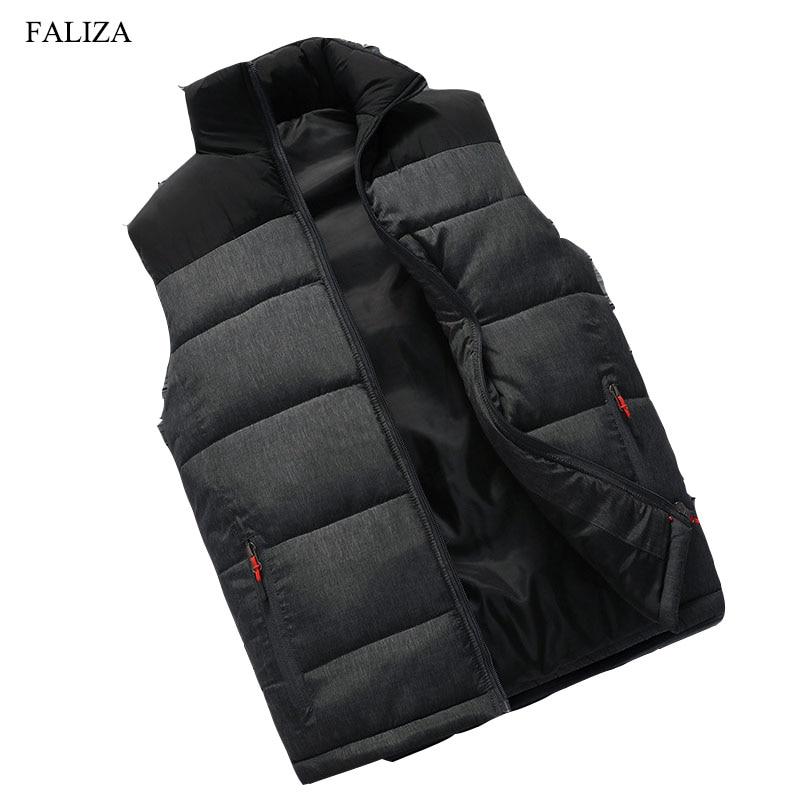 FALIZA новые мужские зимняя куртка без рукавов и пальто мужские без рукавов теплый жилет homme Зимние Повседневные Пальто 4XL MJ-M ...