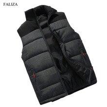 FALIZA New mens winter sleeveless jacket and coats men's sleeveless Warm down vest homme winter casual coats 4XL MJ-M