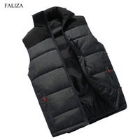 FALIZA New Mens Winter Sleeveless Jacket And Coats Men S Sleeveless Warm Down Vest Homme Winter