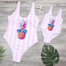 Swimsuit Mother Daughter Pineapple Print One Piece mae e filha Summer Beach Mommy and me swimsuit Matching Swimwear Bathing Suit(China)