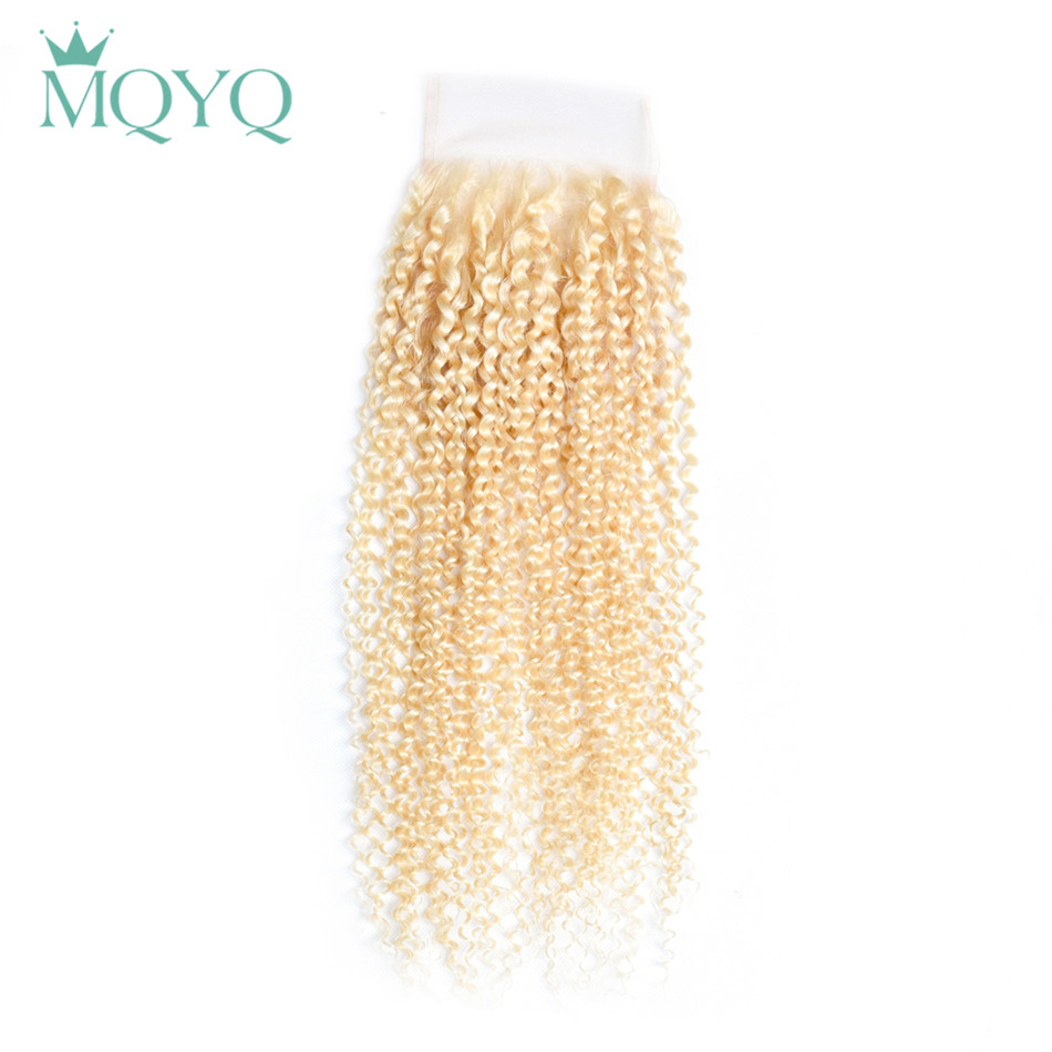 MQYQ Blonde Lace Closure Russian Curly Human Hair Closure 613 Closure With Baby Hair Kinky Curly