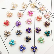 10pcs/lot 20mm*20mm Pearl Rhinestone Decorative Buttons for Craft Wedding Invitation Card DIY Girl Hair Bowknot Metal