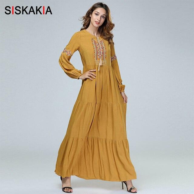 Siskakia אלגנטי אתני רקום ארוך שמלת סתיו סתיו 2019 חדש הגעה נשים ארוך שרוול שמלת וינטג מקסי שמלות צהוב
