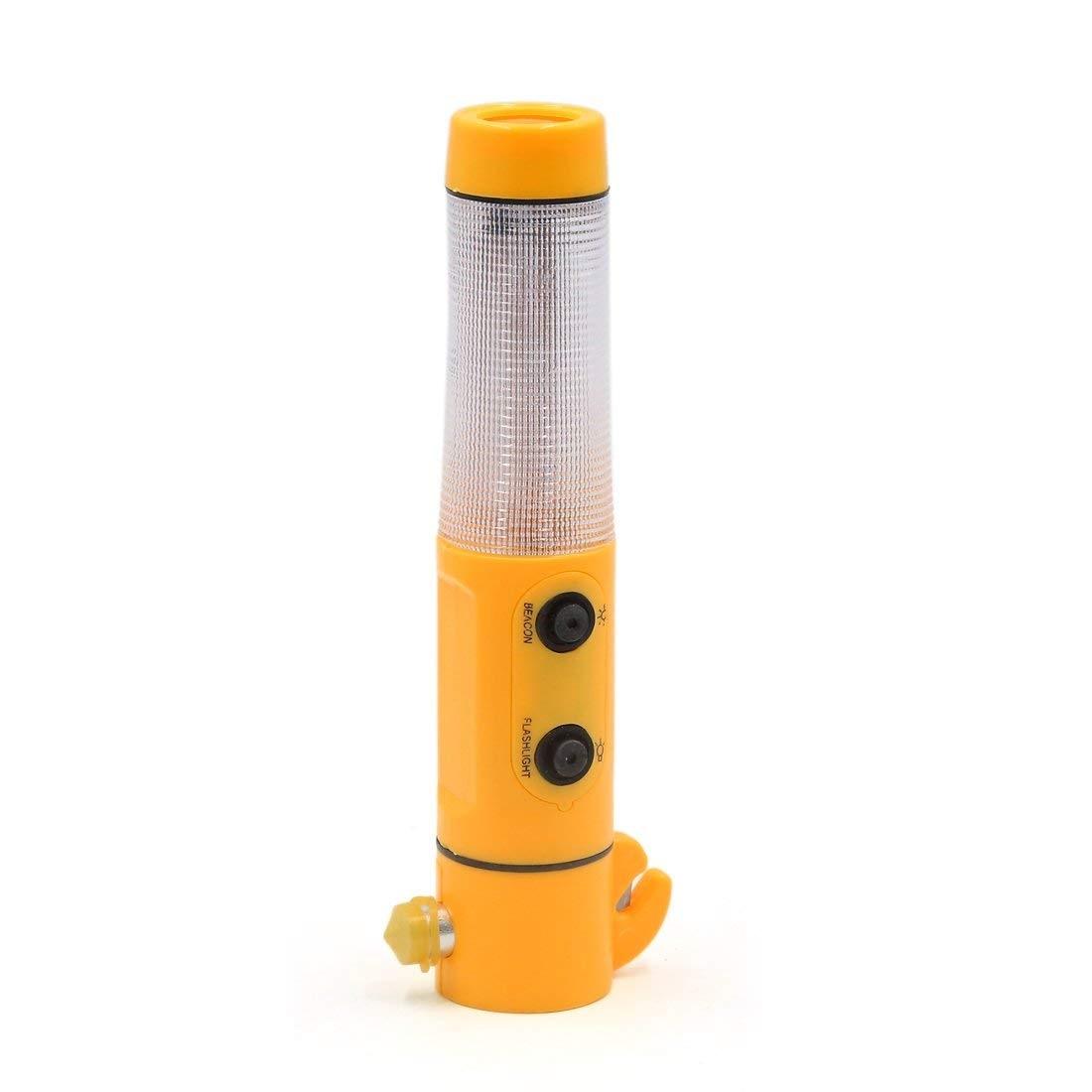 uxcell 19.5 x 6.5cm Emergency Window Glass Break Car Vehicle Flashlight Hammer Cutter Yellow