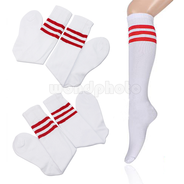 White & Red Over Knee Unisex   Socks