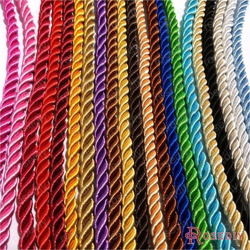 (29966)10 метров 5 мм атласные полиэфирные шнуры три нити веревки «сделай сам» Ювелирная фурнитура Аксессуары