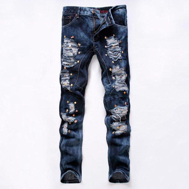 Night Club Mens Jeans HipHop Skull Studded Ripped Destroyed Distressed Acid Washed Faded Punk Style Grey Jeans Pants For Hipster