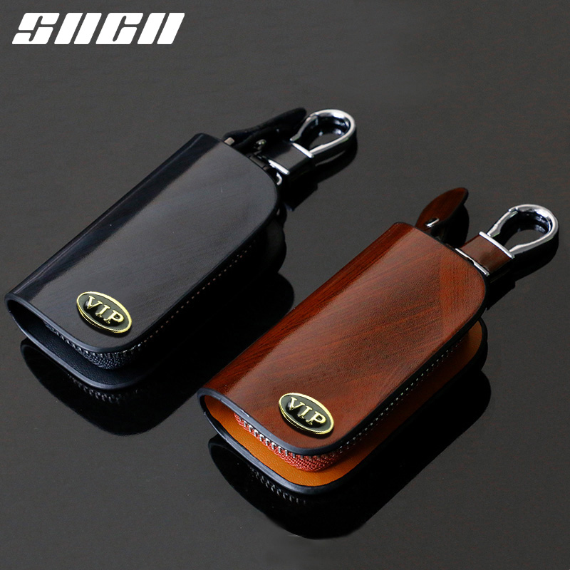 SNCN Genuine Leather Car <font><b>Key</b></font> Chain Wallets <font><b>Cover</b></font> Case Bag For <font><b>Peugeot</b></font> 207 208 301 306 307 308 407 508 2008 3008 4008 <font><b>5008</b></font> 408 image