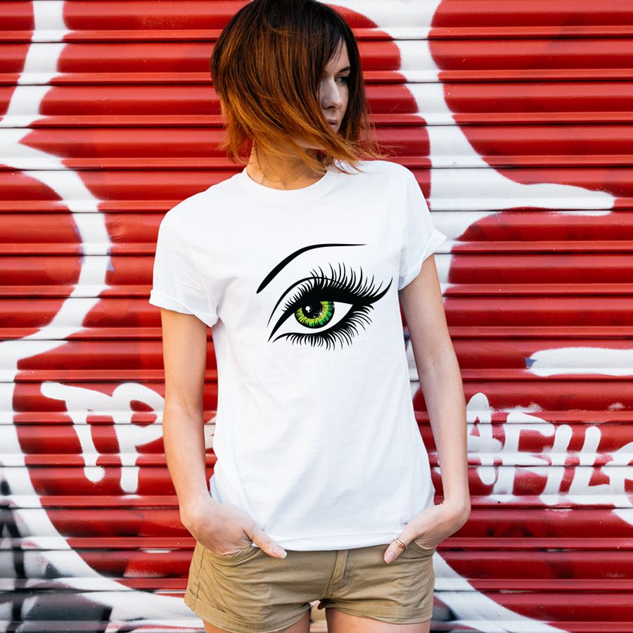 2016 Summer T Shirt Women Tops Tees Short Sleeve Cotton Big Eyes Print Tshirt Funny T