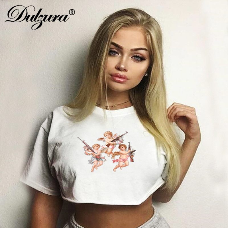 Dulzura Women Summer Crop Top T Shirt Shirts Tops Angel Print Casual Oversize Loose Streetwear Festival Clothes White Basic