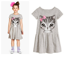 New Arrival 2017 Cute Baby Kids Girl Clothes Summer Dress Cat Print Cartoon Casual Party Shirt Dress Tshirt Top Clothes Clothes