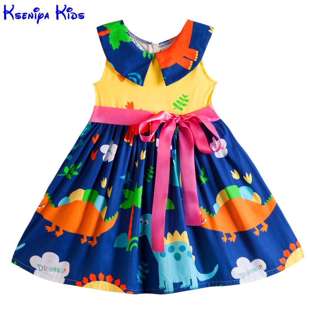 купить Kseniya Kids Big Little Girls' Dresses Princess Sleeveless Peter Pan Collar Ribbons Bow Knot Summer Girl Animal Dress Cotton недорого