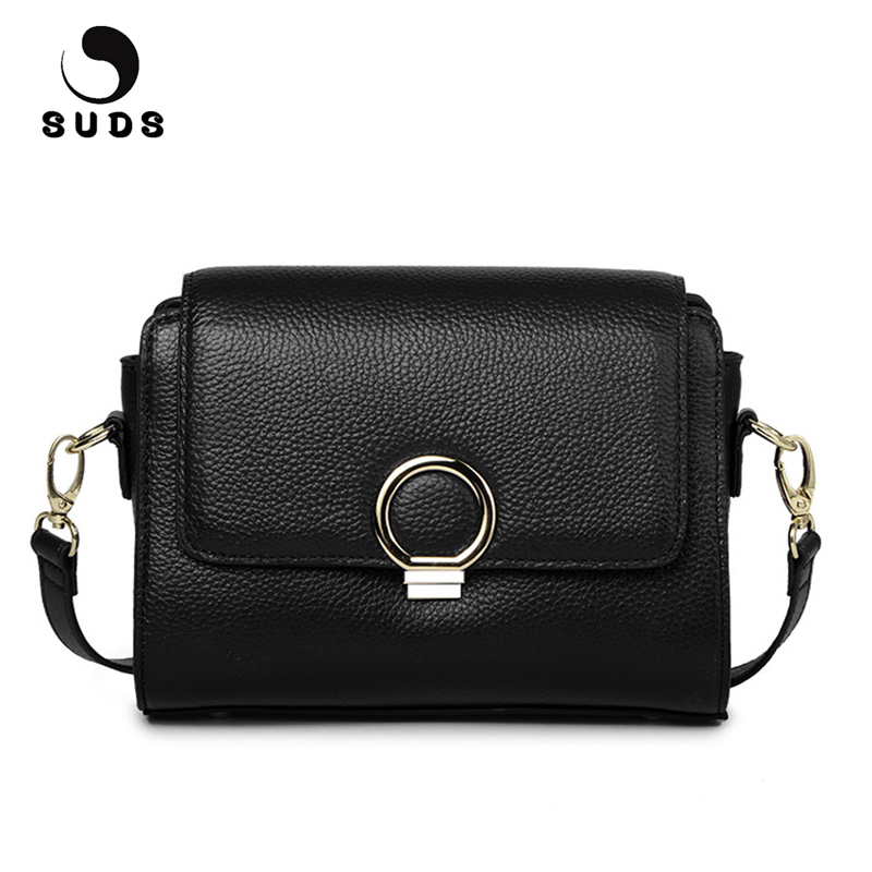 купить SUDS Brand Genuine Leather Flap Bag Women Small Crossbody Bag Famous Designer Brand Women Messenger Bag Cow Leather Shoulder Bag по цене 2197 рублей