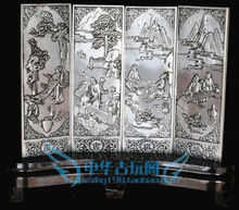 Chinese Boutique collection Tibetan silver carving Unique romance folding screen