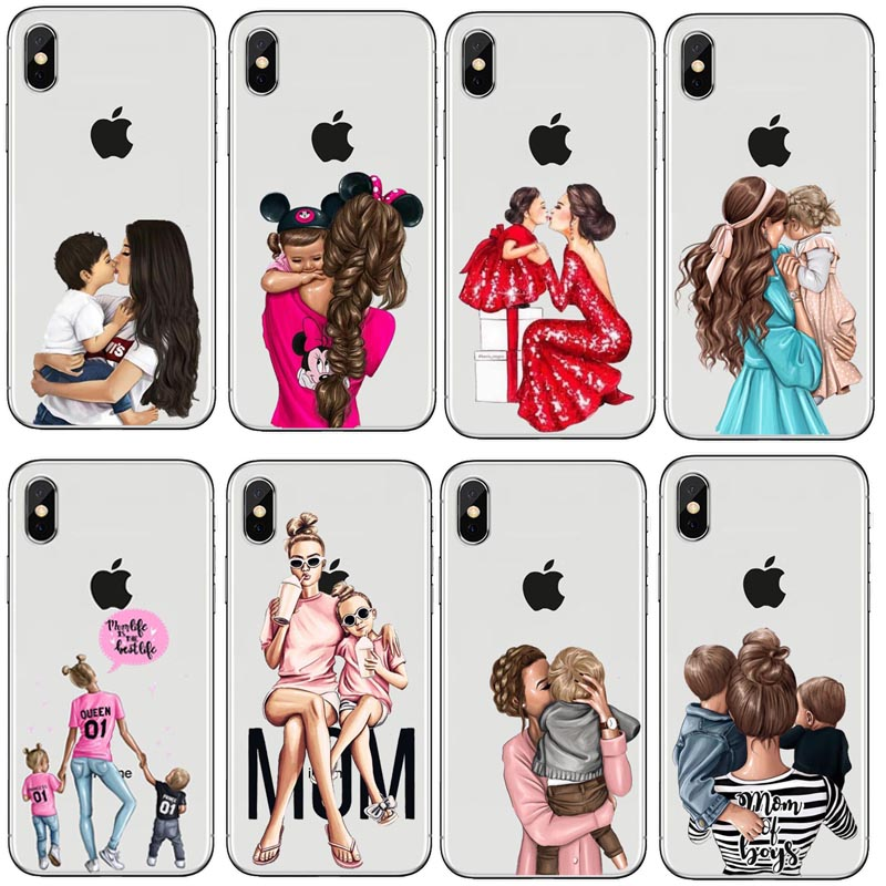 Official Website Fashion Black Brown Hair Baby Mom Girl Queen Hard Pc Phone Case Cover For Iphone X 5 5s Se 6 Xr Xs Max 7 8 8plus 100% High Quality Materials Cellphones & Telecommunications