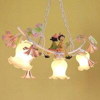 Современная люстра светодио дный светодиодная современная столовая железная лампа 220 В 110 В подвеска сад детские розовые цветочные люстры