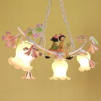 Modern Chandelier LED Contemporary Dining Room Iron Lamp 110 220v Suspension Garden Nursery Pink Flower Chandeliers