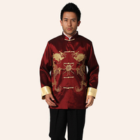 Fashion Trends Burgundy Male Tang Suit Chinese Style Martial Arts Jacket Mandarin Collar Coat Top Size