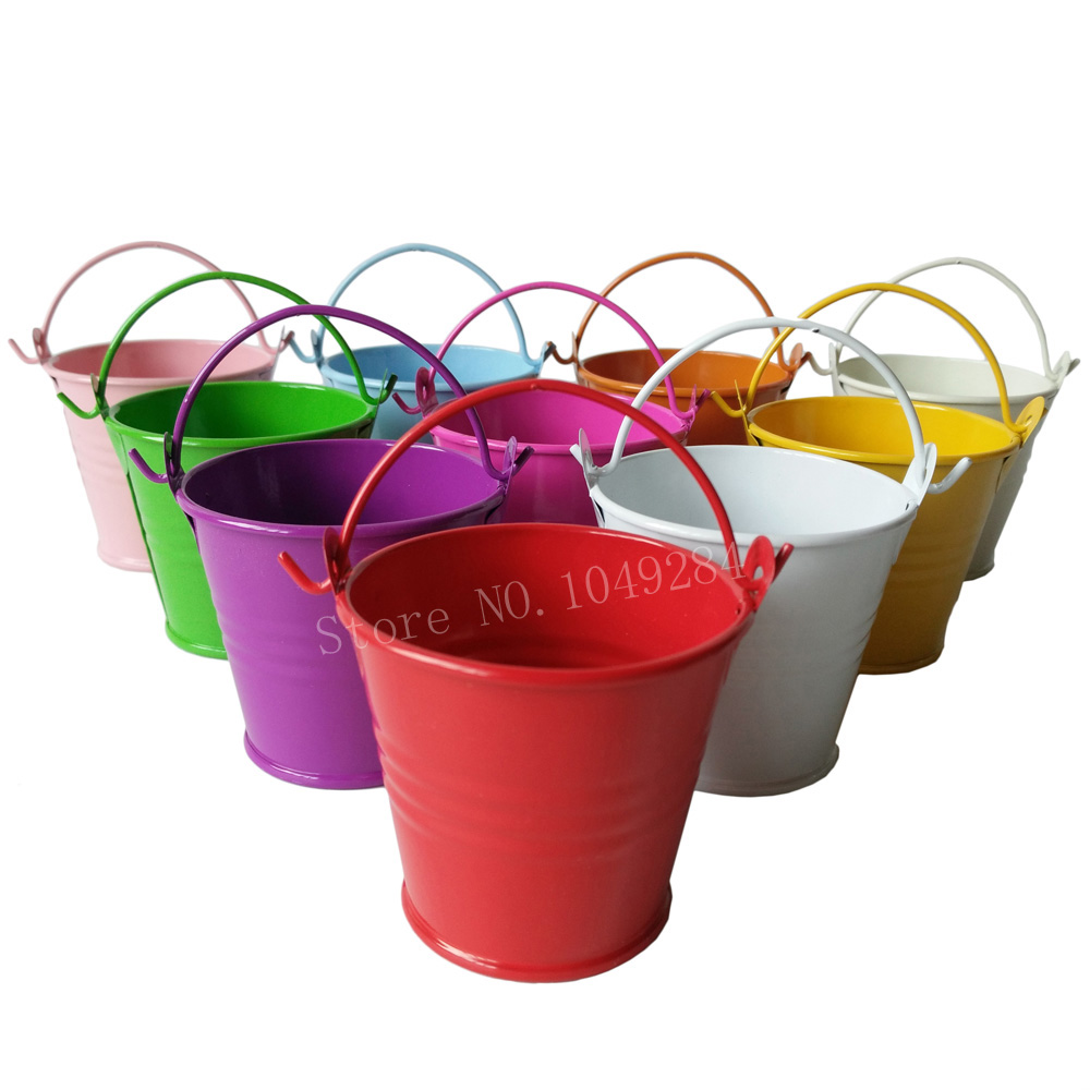 d60xh53mm free shipping white cheap metal buckets wedding buckets small pails flower pot for wedding