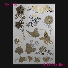 Style Body Art TEMPORAY TATTOO Flowers Butterflies FLASH Metallic Tatto Jewelry Temporary Tattoos Gold And Silver Feather Tatoo