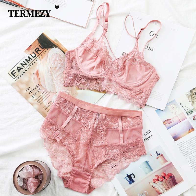 TERMEZY Classic Bandage Pink Bra Set Lingerie Push Up Brassiere Lace Underwear Set Sexy High Waist Panties For Women underwear in Bra Brief Sets from Underwear Sleepwears