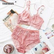 TERMEZY Classic Bandage Pink Bra Set Lingerie Push Up Brassiere Lace Underwear Sexy High-Waist Panties For Women underwear