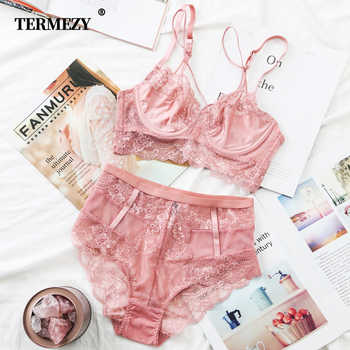 TERMEZY Classic Bandage Pink Bra Set Lingerie Push Up Brassiere Lace Underwear Set Sexy High-Waist Panties For Women underwear - DISCOUNT ITEM  40% OFF All Category