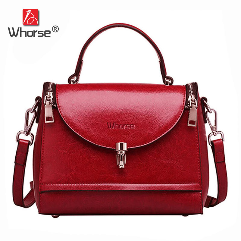 [WHORSE] Brand High Quality Genuine Leather Women Handbag Small Vintage Women's Shoulder Messenger Bags Cowhide Flap Bag W07600 [whorse] brand luxury fashion designer genuine leather bucket bag women real cowhide handbag messenger bags casual tote w07190