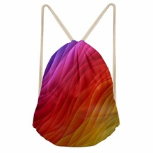 Noisydesigns Drawstring Bags Color Graduated Filters Portable Backpacks Casual String Shoes Pocket Travel Accessories