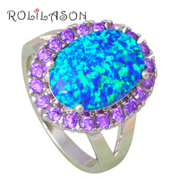 Shining Purple Zirconia Rings For Party Blue Fire Opal Silver Stamped Excellent Fashion Jewelry Rings USA
