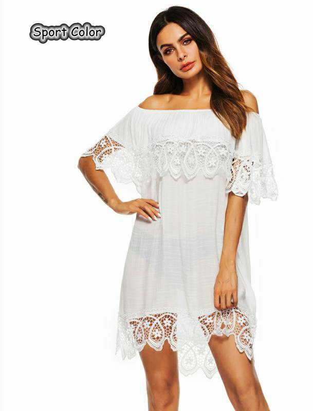 Sweet Lace Design Women Sexy Swimsuit Cover Up Popular Beach Dress Beach Cover Lady Boat Neck White Pareo Sarongs Bikini Tunic|  - title=