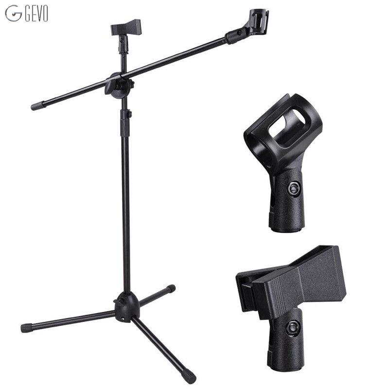 NB-107 Professional Microphone Stand Metal Dual Microphone Holder Tripod Adjustable Double-headed Clip Telescopic Boom Support adjustable height microphone stand dual mic clip round metal weighted base boom arm tripod for recording and podcasting