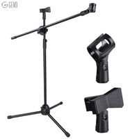 Universal Floor Tripods Metallic Support Metal Adjustable Dual Mic Clip Microphone Tripod Holder Telescopic Floor Boom