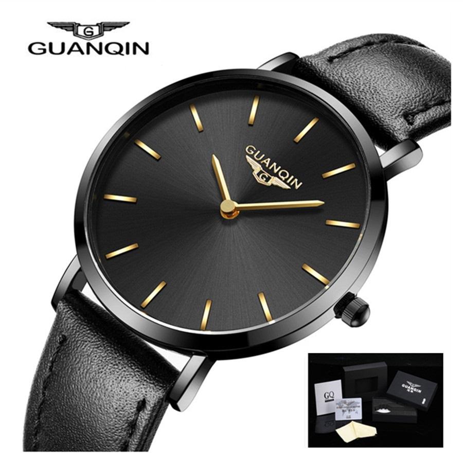 GUANQIN Ultra Thin Watch Women Luxury New Simple Casual Ladies Dress Waterproof Female Leather Wrist Watches Relogio Feminino watches women luxury brand guanqin genuine leather strap waterproof mechanical wrist watch for ladies relogio feminino