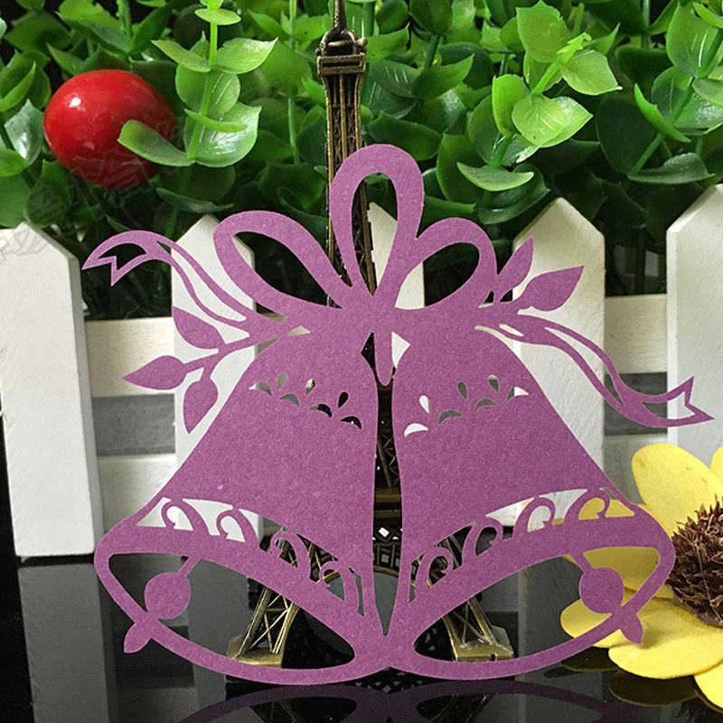 50pcs Christmas Bells Laser Cut Table Place Cards Name Number for Wedding birthday Party Decoration favor-4