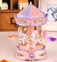 Hot pink lantern carousel music box