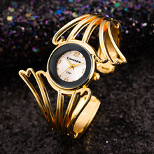 2019 Unique Fashion Wings Design Bracelet Ladies Watch Full Steel Quartz Watch Women Cuff Bangle Watches Rose Gold Montre Femme(China)