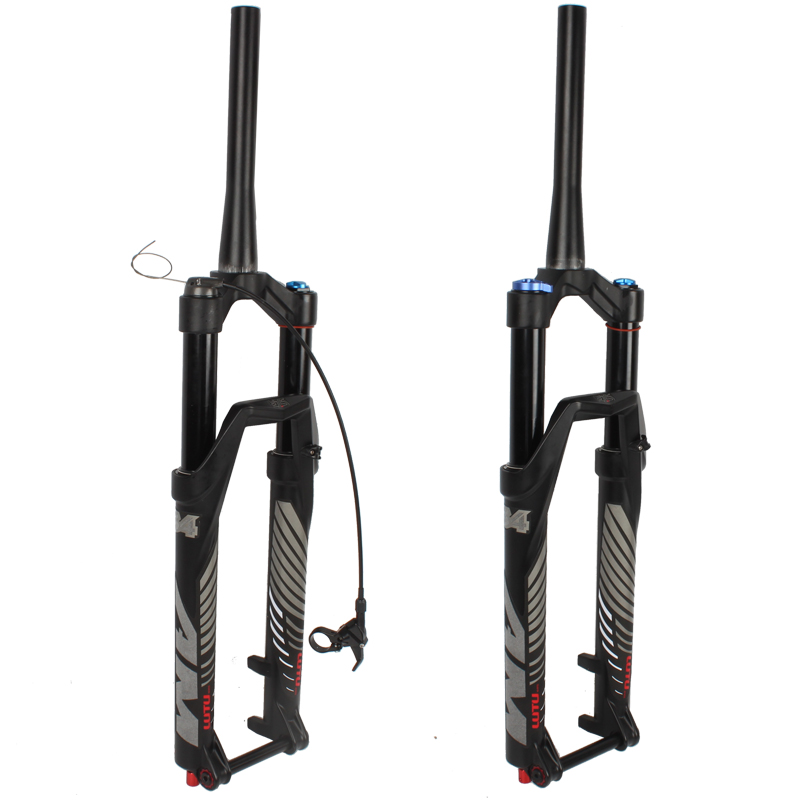 bicycle air fork 26 27.5 29 ER Tapered Thru Axle QR MTB mountain suspension fork air resilience oil damping line lock for over image