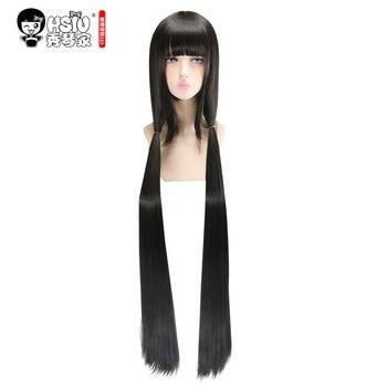 цена на HSIU Harukawa Maki Cosplay Wig New Danganronpa V3 Costume Black long straight Play Wigs Halloween Costumes Hair free shipping