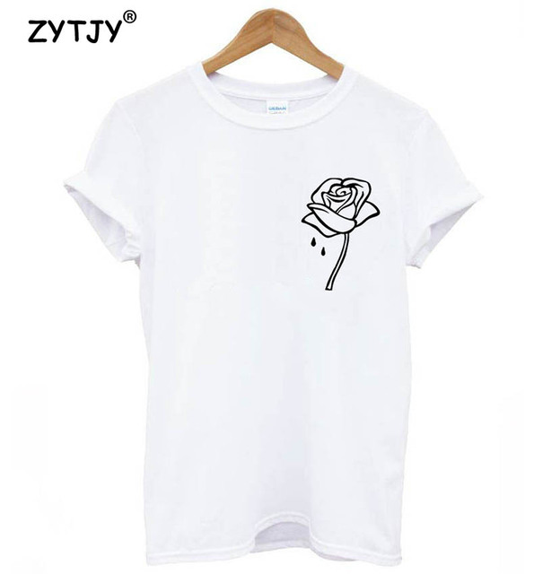 Women Rose Flower Pocket Print Cotton T shirt