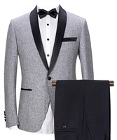 Men suit 2 Pieces Shawl Lapel Mens Suit Sets Wool / Tweed Tuxedos Bridegroom One Button 2018 New For Wedding (Blazer +Pants)