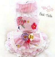 Free Shipping Top Grade Fresh Macarons Little Flower Lace Princess Dog Dress Tutu Dog Wedding Dress