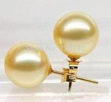 Brincos Ohrringe Phone 2pair wholesale Earrings Jewelry Charming!10mm South Gold Sea Shell Pearl Earring 18K GP недорого