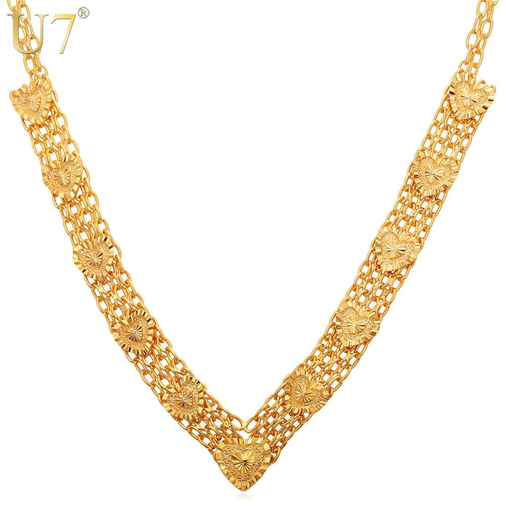 7c7da46a5b5 U7 Coeur Colliers Amour Cadeau Or Argent Couleur Mode Parure Bijoux  Colliers Gros Collier Femmes N340