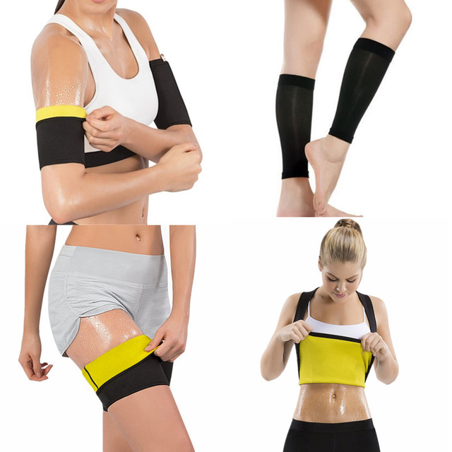 נשים מעצבי זיעה סאונה הרזיה חולצה חמה גוף Shaper Arms שרוולי רגל שרוולים ירך מאמן עגל Shapewear הרזיה חליפות