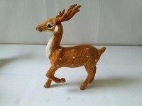 16x21cm Raise Leg Pose Deer Model Polyethylene Faux Furs Sika Deer Handicraft Figurines Prop Home Decoration