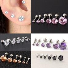 Fashion 1Pair Dazzling Zircon Men and Women Earrings Bone Nail Small Piercing  Body Jewelry
