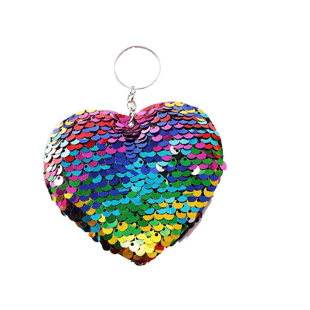 Coração-em forma de Lantejoulas Saco de Presentes para As Mulheres Encantos Do Carro Anel Chave Acessórios Da Corrente Chave