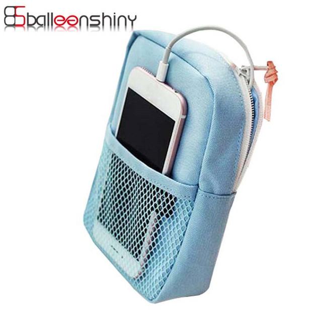 BalleenShiny Travel Digital Storage Bag Multifunction Data Cables Flash Drives Organizers Nylon mesh Oxford Cloth Pouch